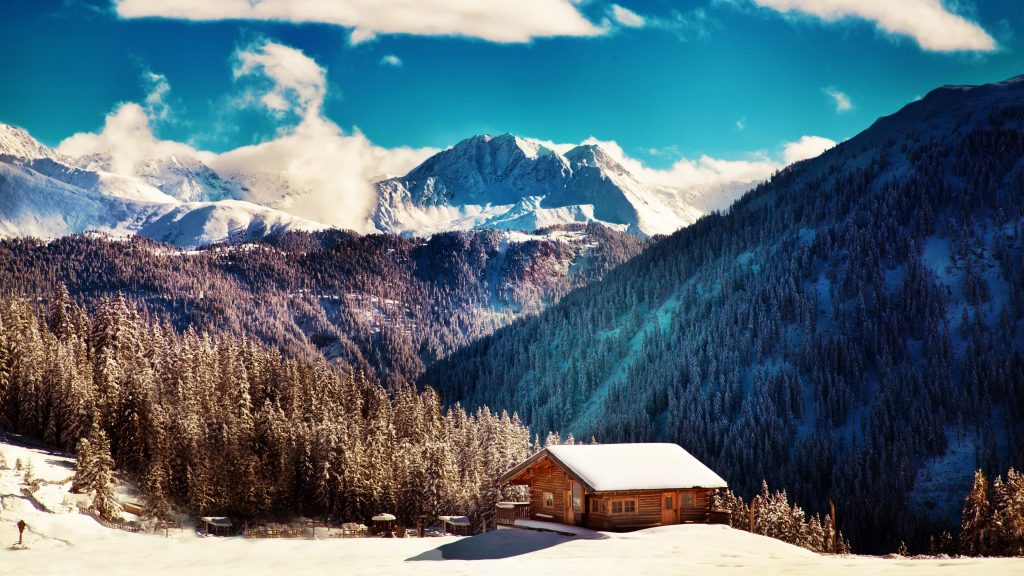 Mountains Winter Landscape House 4K Wallpaper