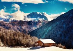 Mountains Winter Landscape House 4K Wallpaper