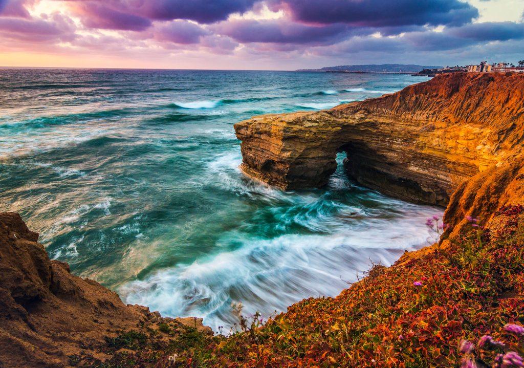 Ocean Nature Water Sky Clouds Purple Blue 4K Wallpaper