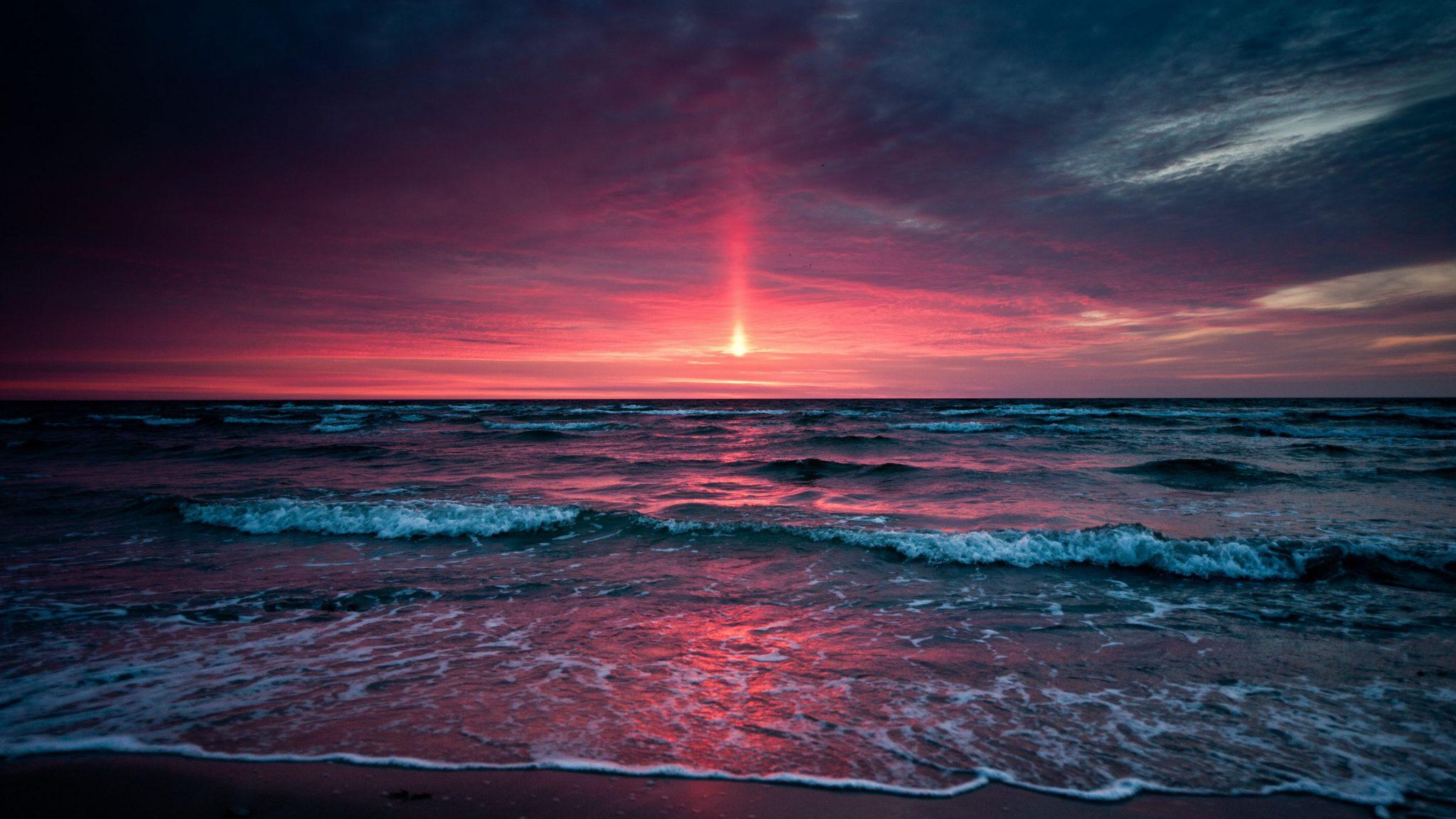 Pink Sunset Blue Ocean Water 4k Wallpaper Best Wallpapers