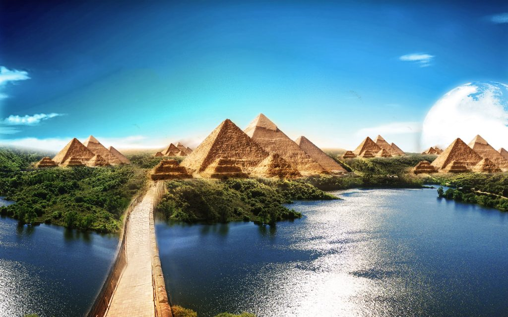 Pyramids Blue Water Trees Creative 4K Wallpaper