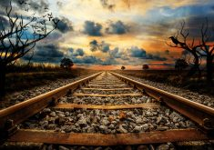 Railway Track Sunset Creative 4K Wallpaper