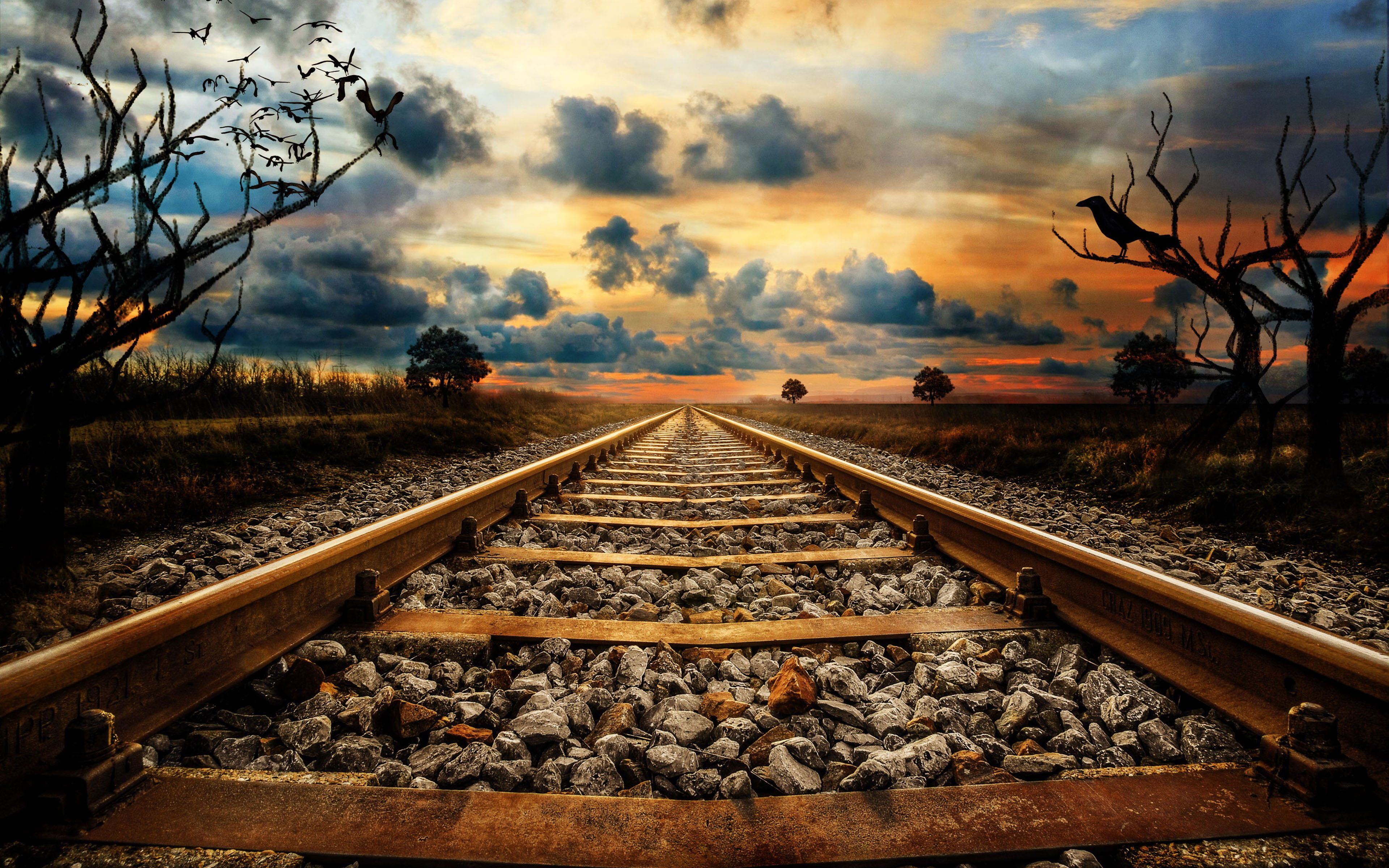 Railway Track Sunset Creative 4k Wallpaper Best Wallpapers