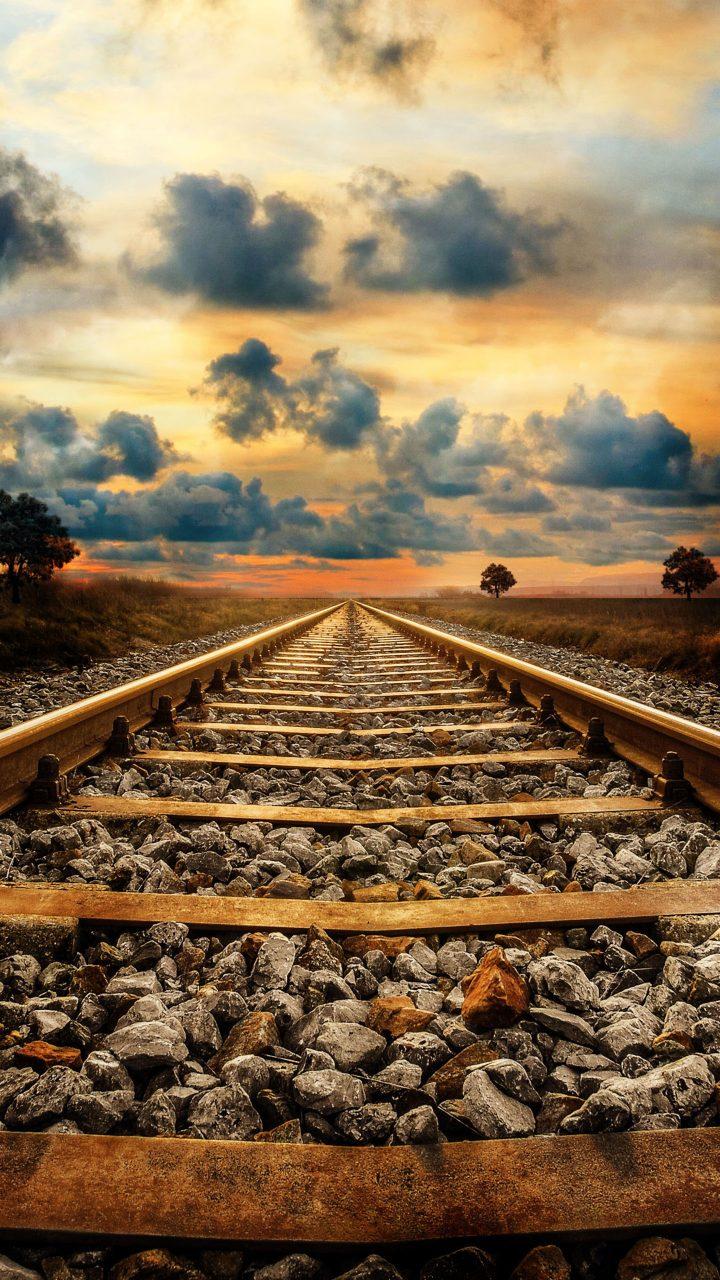 Railway Track Sunset Creative 4K Wallpaper