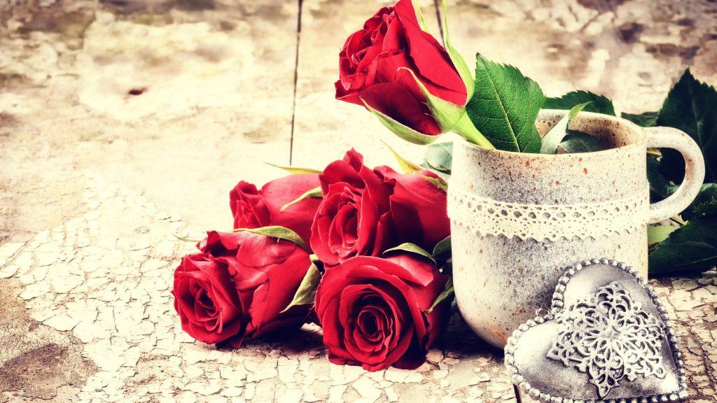 Roses Flowers Mug Heart Silver 4K Wallpaper