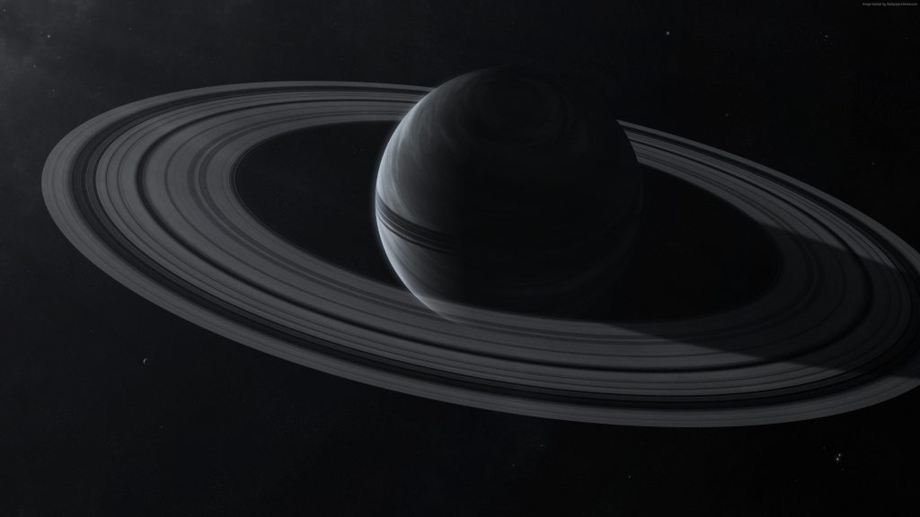 Saturn Planet Monochrome Space 4K Wallpaper