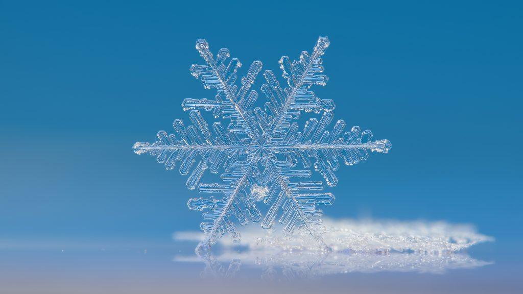 Snowflakes White Ice Blue 4K Wallpaper