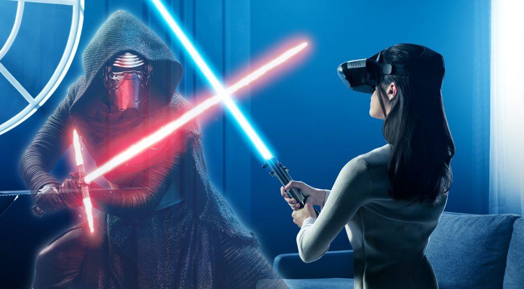 Star Wars Rey Kylo Ren Lightsaber 8K Wallpaper