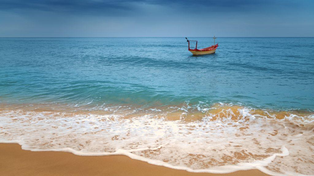 Tropical Ocean Beach Boat Blue 8k Wallpaper Best Wallpapers