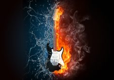 Water Fire Guitar Creative 4K Wallpaper