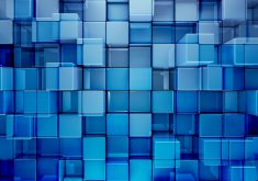 3D Cubes Abstract Pattern Blue 4K Wallpaper