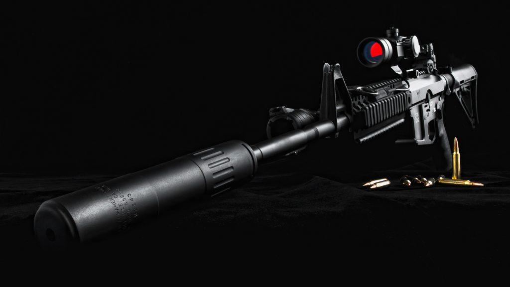 Black Sniper Rifle 4K Wallpaper