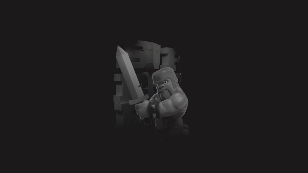 Clash of Clans Barbarian Monochrome 4K Wallpaper