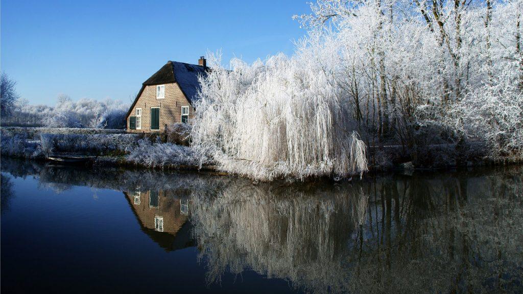 Lake House Trees Reflection 5K Wallpaper