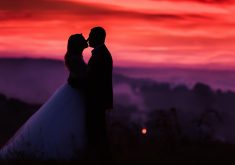 Lovers Couple Sunset Dusk 5K Wallpaper