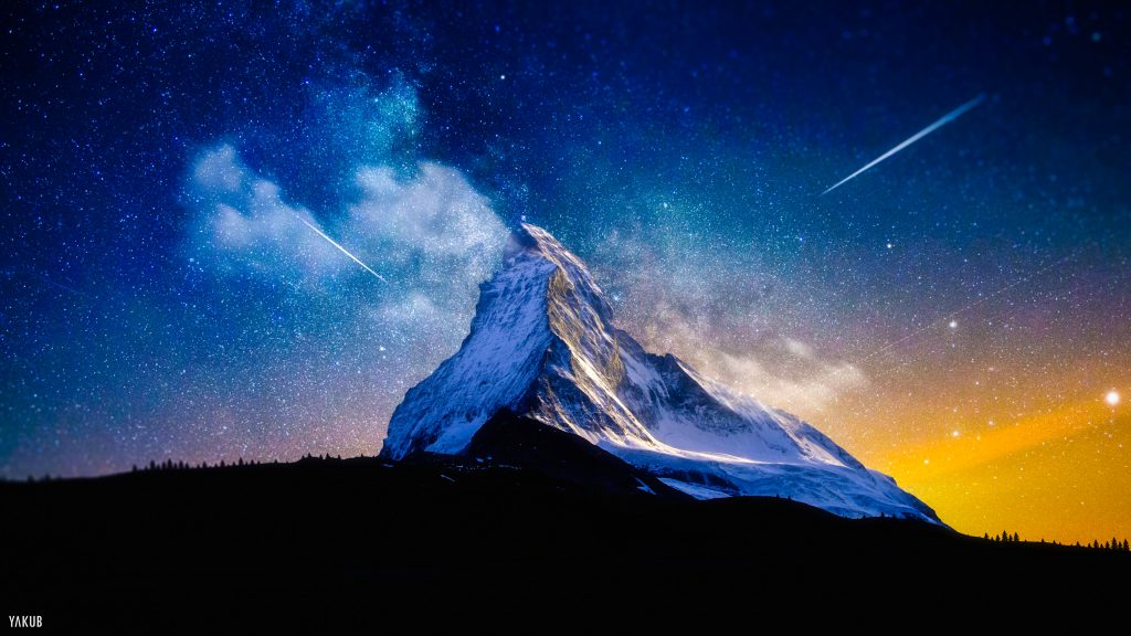 Milky Way Mountain Stars 4K Wallpaper