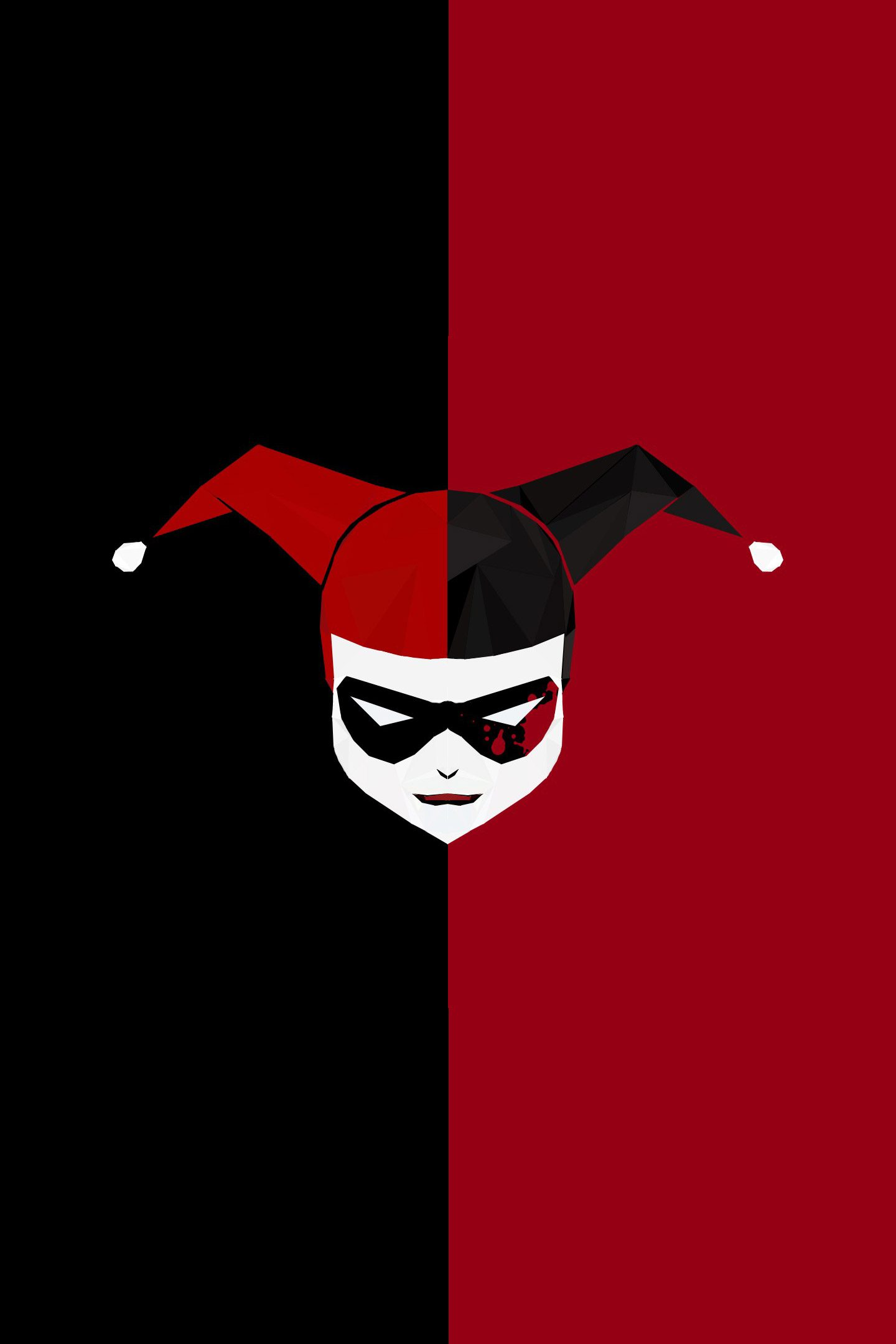 Minimal Harley Quinn Red Black 4k Wallpaper Best Wallpapers