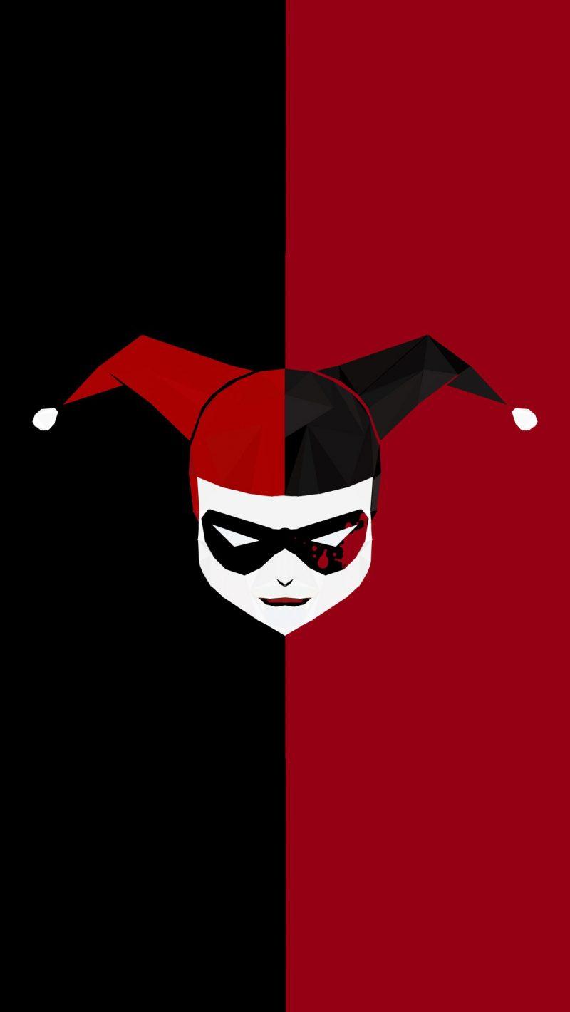 Minimal Harley Quinn Red Black 4K Wallpaper - Best Wallpapers