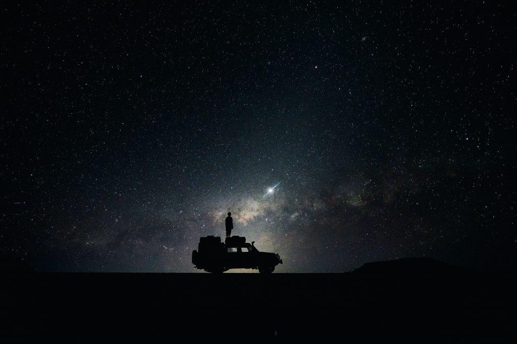 Night Car Man Silhouette Stars 5K Wallpaper