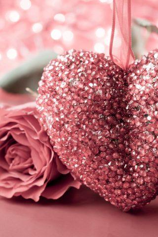 Pink Roses Heart Flowers 5K Wallpaper