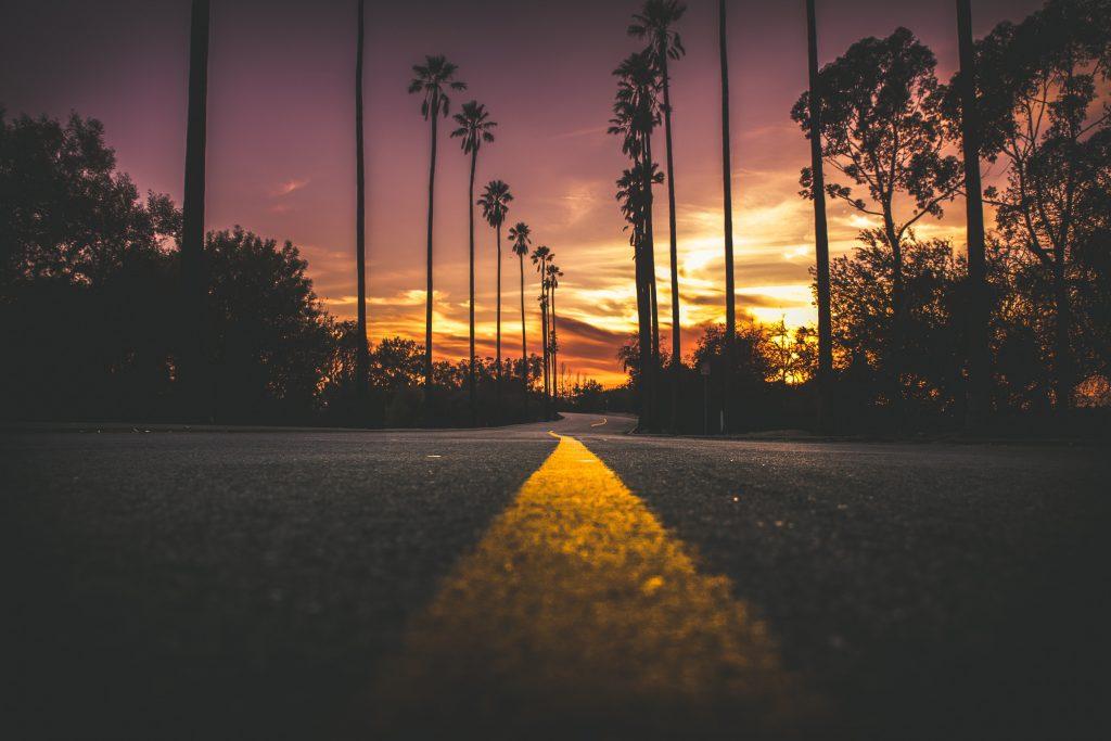 Road Sunset Dusk Trees 5K Wallpaper