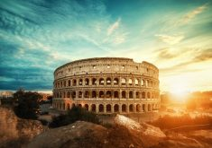 Sunset View of Colosseum Rome 4K Wallpaper