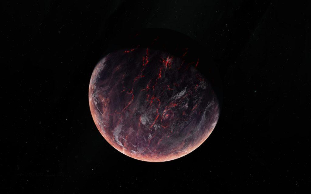 Volcano Burning Planet Space 5K Wallpaper
