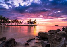 Beautiful Sunset Beach Resort 5K Wallpaper