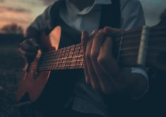 Boy Playing Guitar Outdoor Music 5K Wallpaper