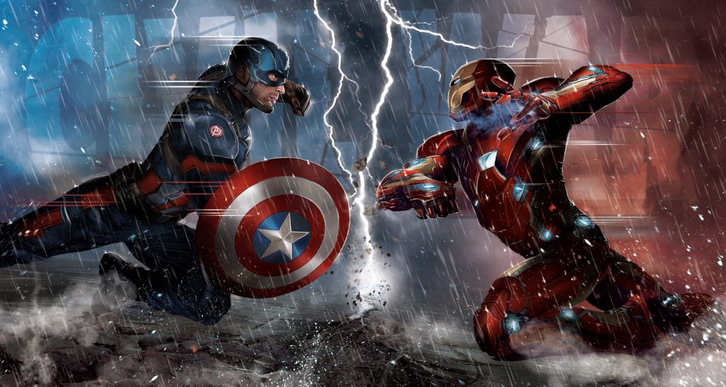 Civil War Captain America vs Iron Man 5K Wallpaper