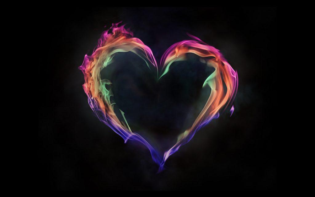Colorful Flame Heart Art 4K Wallpaper