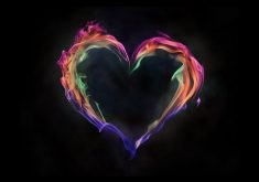 Colorful Flame Heart Art 4K Wallpaper