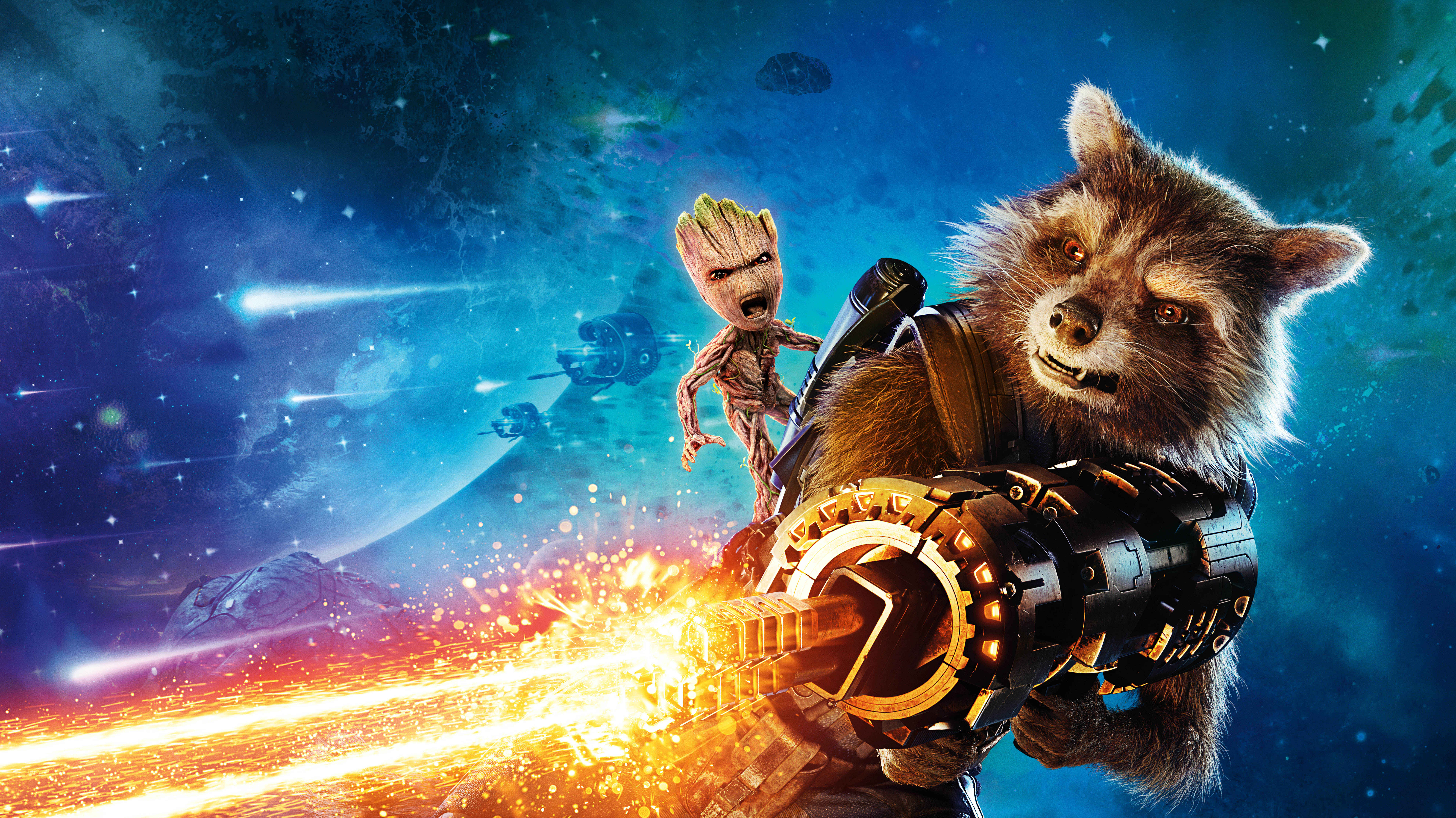 Groot Rocket Raccoon Guardians Of The Galaxy Vol 2 8k Wallpaper
