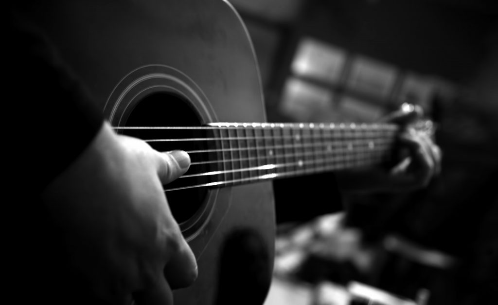 Guitar Music Playing Monochrome 4K Wallpaper