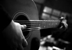 Guitar Music Playing Monochrome 4K Wallpaper