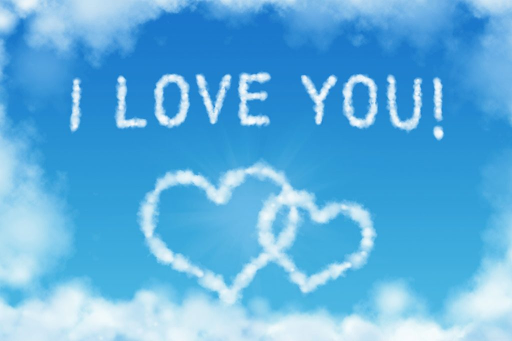 I Love You Clouds 5K Wallpaper
