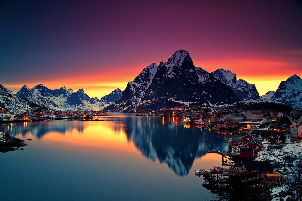 Reinebringen Mountains in Norway Sunset 4K Wallpaper