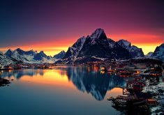 Reinebringen Mountains in Norway Sunset 4K Wallpaper