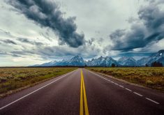 Road Mountains Clouds Sky Field 8K Wallpaper