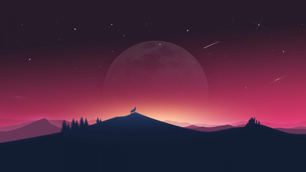 Wolf Howling to Moon Minimal 4K Wallpaper