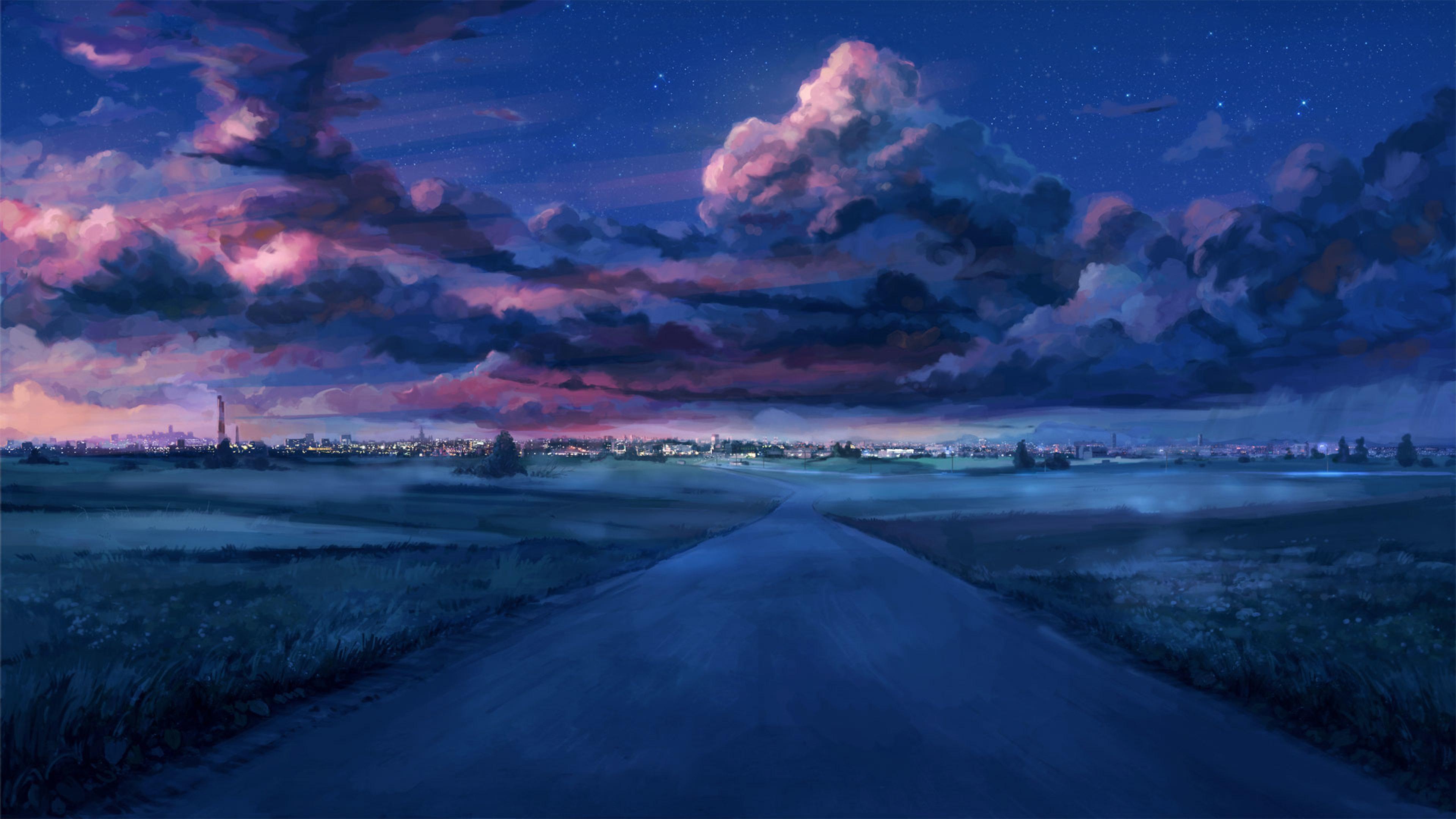 Anime Night Scenery 4K Wallpaper - Best Wallpapers