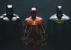 Batman Flash Justice League Art 4K Wallpaper