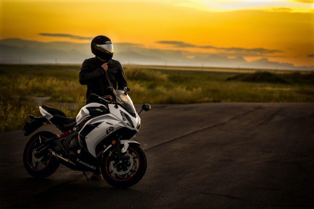 Biker Motorcycle Vehicle Sunset Dusk Orange White 5K Wallpaper