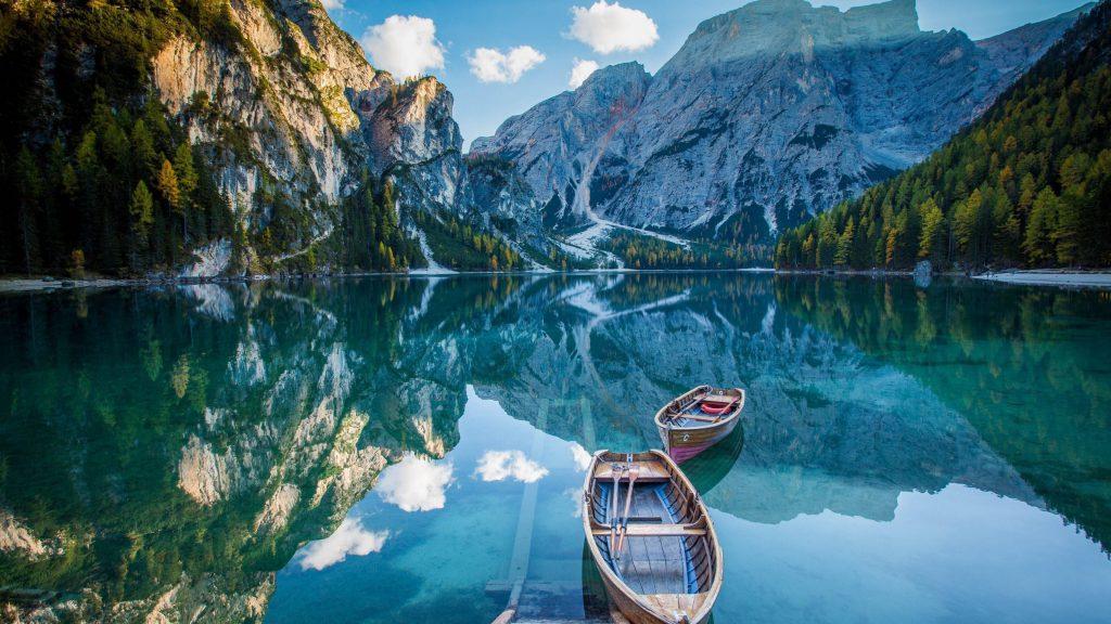 Boats Lake Water Mountains Reflection 4K Wallpaper