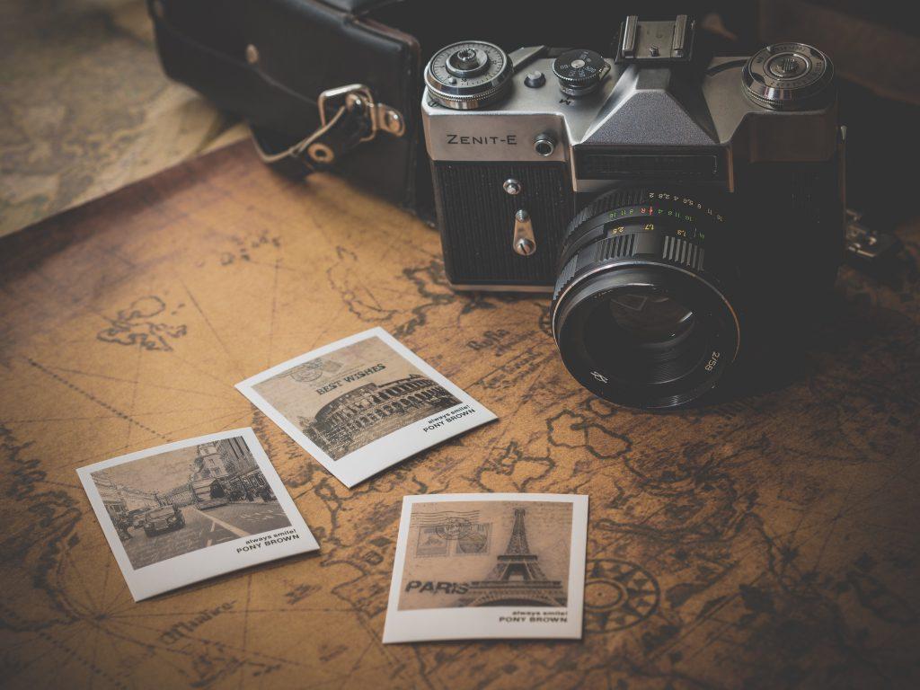 Camera Photos Map Vintage Brown 5K Wallpaper