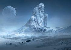Fantasy Man Moon Snow Mountain White 5K Wallpaper