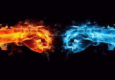 Fight Fire Ice Orange Blue 8K Wallpaper