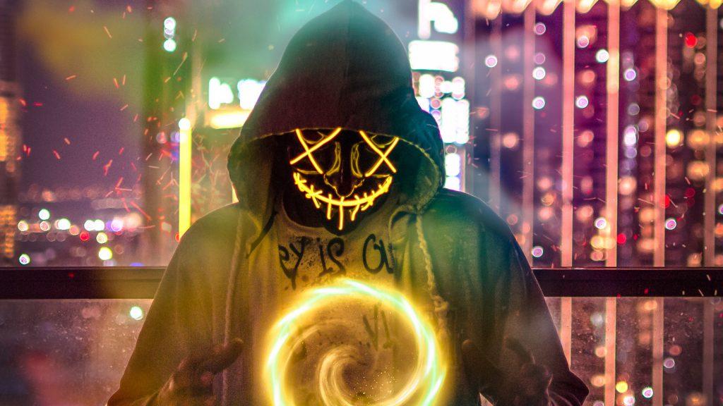 Mask Neon Light Magic Bokeh Orange 4K Wallpaper