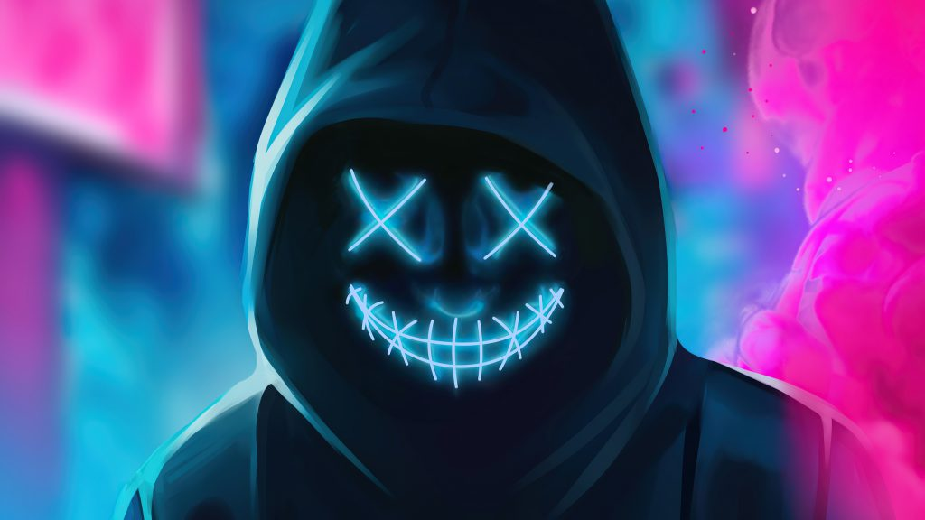 Neon Light Mask Hoodie Black 4K Wallpaper