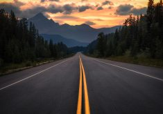 Road Path Way Trees Mountains Clouds 4K Wallpaper